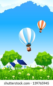 Green home background with flowers grass and balloons