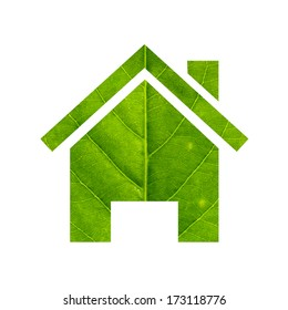 Green home made of green leaf isolated on white background.