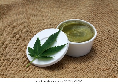 Green homemade ganja marijuana hemp ointment balm vaseline medical herbal lotion
