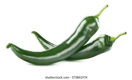 Green hot chili peppers double isolated on white background as package design element