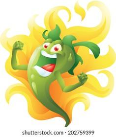 Green hot pepper on fire cartoon
