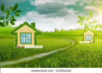 Green House. Abstract energy savings and eco construction backgrounds