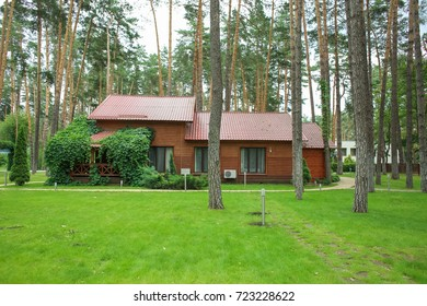 A green house with brick pipes is surrounded by tree. In the foreground there is a dirt area. landscape, nature Green wooden house in the forest