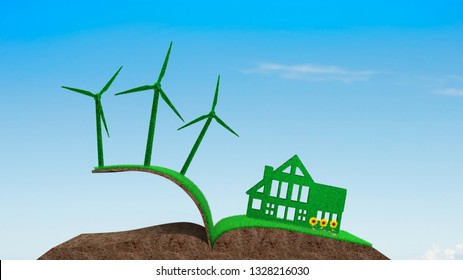 Green house, green energy and circular economy concept, green house and wind turbines on grass soil in book shape with sunflowers, on blue sky background.
