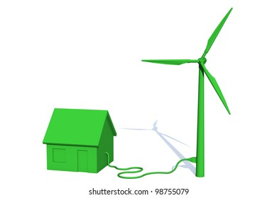 Green house is getting its power from a green wind turbine