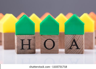 Green House Model Over Homeowner Association Wooden Blocks