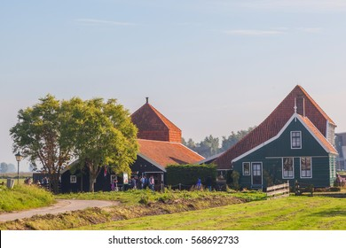 Green houses in small typical Dutch village at the Zaanse Schans