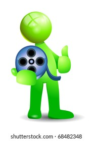 green human with carry a film