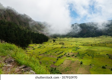 Green humid farm field with clouds in canyon of volcano Cape verde