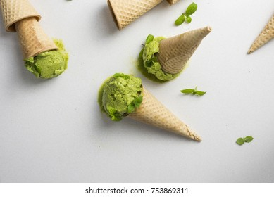 Green Ice Cream (nicecream) in a Cone