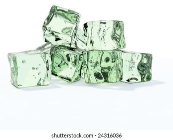 Green ice cubes isolated on white