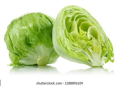 Green iceberg lettuce isolated on white background
