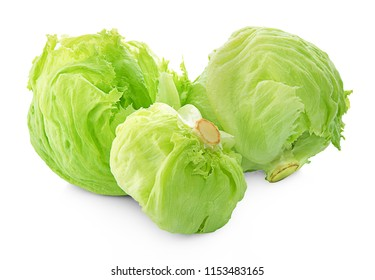 Green Iceberg lettuce on White Background