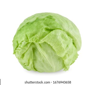 Green Iceberg lettuce on white background. with clipping path