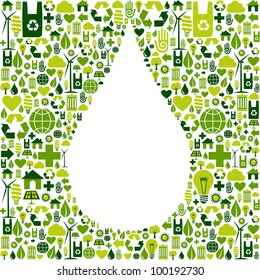Green icon set in drop shape background.