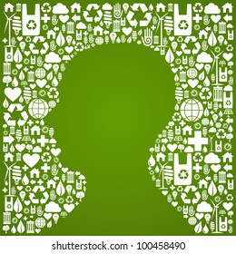 Green icons set background in man head symbol.