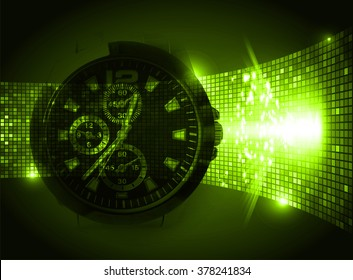 green illustration of technology internet network computer background with binary number, style. infographics. Information. motion blur. pixel. Binary digit. number. Odometer,clock, watch