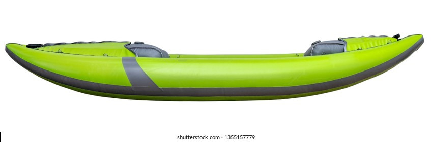 green inflatable whitewater one person kayak isolated on white, side view