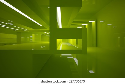 Green interior. 3D illustration. 3D rendering.