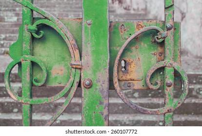 Green iron gate closed