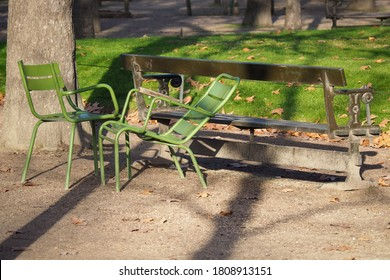 Green iron and wooden benches in the Tuileries garden in late autumn at the Golden hour. Autumn in Paris.