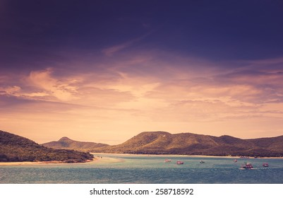 Green island and sea nature landscape in Thailand vintage