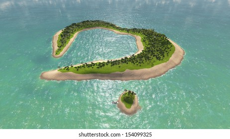 Green island in the shape of a heart