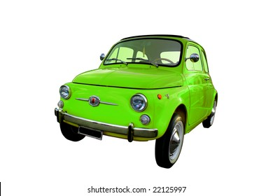 Green Italian Fiat 500 isolated on a white background