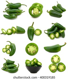 Green jalapeno peppers collection