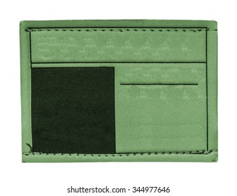 green jeans leather label on white background