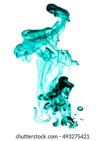 green jetstream ink in water on a white background