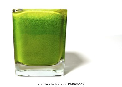 Green Juice in Square Glass Isolated on White