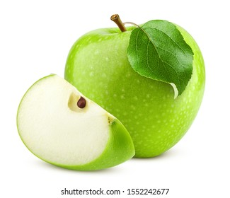 Green juicy apple isolated on white background, clipping path, full depth of field - Shutterstock ID 1552242677