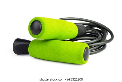 Green jump rope or skipping rope isolated on white background. Sports, fitness, cardio, martial art and boxing accessories.