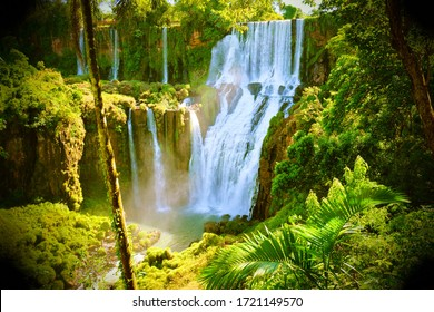 GREEN JUNGLE TREES AND WATERFALL SCENIC LANDSCAPE