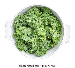 Green kale leaves or Russian kale isolated on white background