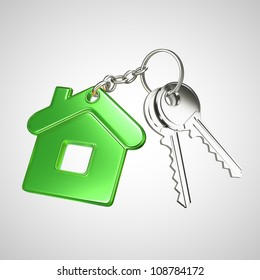 green key chain with key in form of home