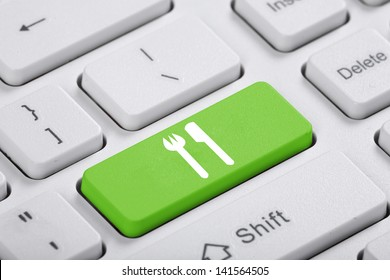Green key of the computer. The symbol