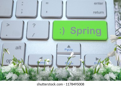 Green key with the inscription spring with a smile with snowdrops