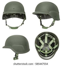 Green, khaki military helmet, isolated white background.