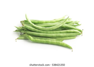 Green Kidney Beans Pods isolated on white background