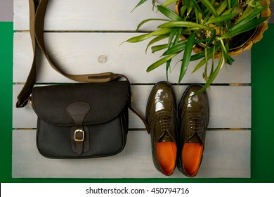 Green lacquered oxford shoes and crossbody bag on wooden background near flower pot. Top view. Close up. Copy space