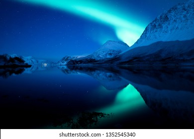 """The """"Green Lady"""" dancing above a fjord in Tromsø, Northern Norway. A quite scene with a smooth sea, stars and a small fishing village."""