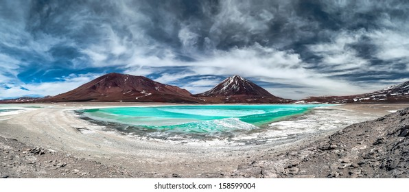 Green Lagoon (Laguna Verde) is a highly concentrated salt lake located in the Eduardo Avaroa Andean Fauna National Park at the foot of the Licancabur volcano, Sur Lipez Province, Bolivia.