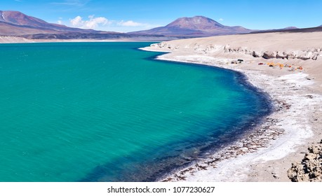 Green Lagoon or Laguna Verde. The six thousand peaks road, San Francisco Pass. The pass connects the Argentinian province of Catamarca with the Atacama Region in Chile