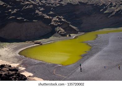 The green lake of algaes - Charco de los Clicos, Lanzarote, Canary islands, Spain