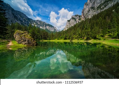 Green Lake, Austria, beautiful lake with melting water from mountains