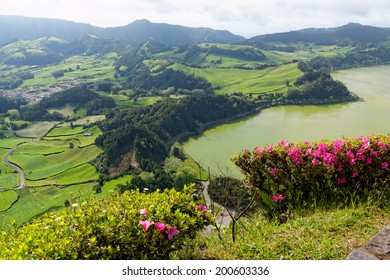 Green lake in Furnas from the island of Azores in Portugal