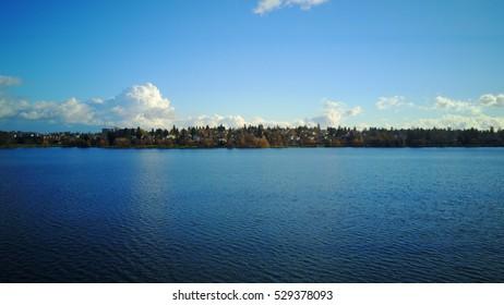 Green Lake Seattle Washington Sunny Autumn Day
