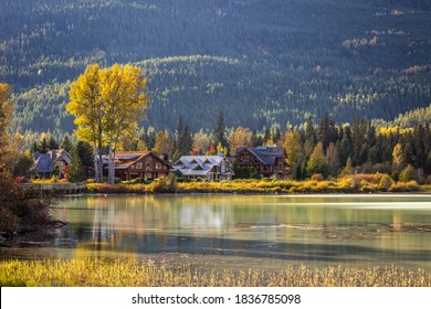 Green Lake Shoreline in Autumn and Nicklaus North Luxury homes in Whistler, BC